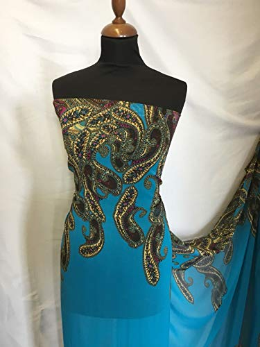 Iana Fabrics Mehrfarbiger Chiffon-Stoff mit Paisley-Bordüre, 151 cm Georgette Paisley