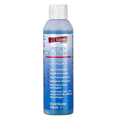 Speed-Cleaner® Superkonzentrat 250ml - Allzweckreiniger als Konzentrat für Fenster, Brillen, Gläser, Geschirr, Parkett, Laminat usw. Entfernt sogar Nikotin! -