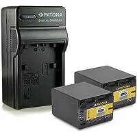 Bundle - 4en1 Cargador + 2x Batería NP-FV100 / NP-FV90 para Sony DCR-SR15E | DCR-SR37E | DCR-SR38E | DCR-SR47E | DCR-SR48E | DCR-SR57E | DCR-SR58E | DCR-SR67E | DCR-SR68E | DCR-SR77E | DCR-SR78E | DCR-SR87E | DCR-SR88E | HDR-XR100E | HDR-XR105E | HDR-XR106E | HDR-XR150E | HDR-XR155E | HDR-XR160E | HDR-XR200E | HDR-XR200VE mucho más…
