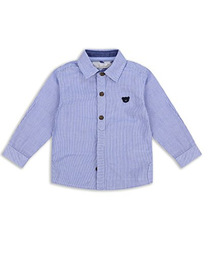 The Essential One - Boys Kids Pin-Stripe Shirt - Bailey Bear - 2-3 Yrs - Blue/White - EOT189
