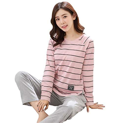 Xlnnsy pigiama a righe con motivo a righe delicato primavera e autunno in cotone per donna, xxxl, strisce rosa