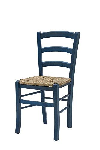 White loft, set di 2 sedie, legno, blu, 43x42x88 cm