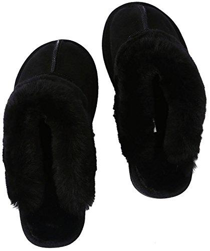 SimpleC Damen Winter Wärme Suede Indoor Outdoor Shearling Leicht Hausschuhe Weicher Baumwolle Plüsch Mules Slippers Pantoffeln Schwarz(Black Rindsleder Suede)