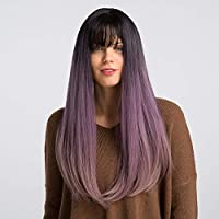 Women Natural Wavy Black Ombre Purple Wig, GLAMADOR Synthetic Hair, Halloween Hair Wig for Women, Heat Resistant Fiber Synthetic Cosplay Wigs, Black Ombre Purple 22