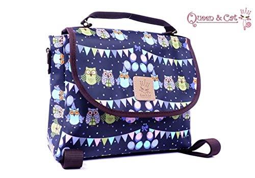PETIT Sac à dos ,Sac à main ,sac bandoulière 3 en 1 étanche/Cartable/sac scolaire Queen & Cat (HIBOU soirée fond bleu)