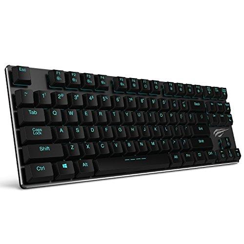 Mechanische Tastatur HAVIT LED Hintergrundbeleuchtung Gaming tastatur (US Layout), extrem dünn und leicht, Kailh Neueste Low Profil-Tastatur (Blue Switches),87 Tasten mit USB-Kabel