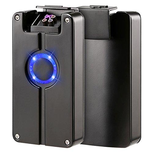 Qimaoo USB elektronisches Feuerzeug Dual Lichtbogen Sturmfeuerzeug Zigarettenanzünder Ohne Flamme Aufladbar Umweltfreundlich Winddicht