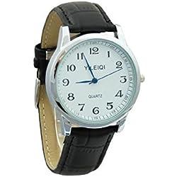 Yileiqi Men's Silver Plated Black PU Leather Strap Watch Wrist Watch