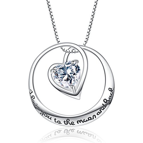 """Flyonce 925 Sterling Silver CZ Mother's Gift""""I Love You to the Moon and Back"""" Love Heart Pendant Necklace"""