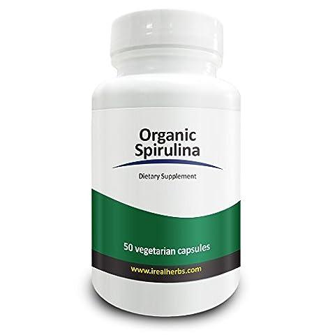 Real Herbs Bio Spirulina 750mg - auch bekannt als Blau-grüne Algen Pulver - höchste Dosis pro Cap auf Amazon, unterstützt das Immunsystem, verbessert die allgemeine Gesundheit - 50 vegetarische Kapseln
