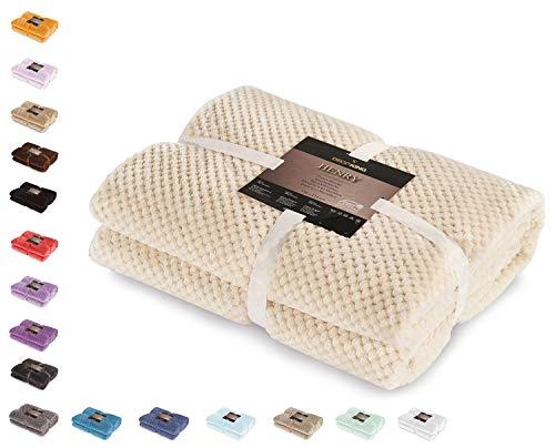Decoking- coperta in microfibra, pile morbido, tessuto, 70 x 150 cm, beige