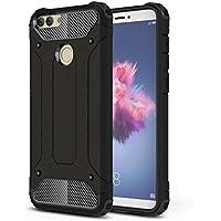 Rockwey® Huawei P Smart Funda,TPU+PC,Concha a prueba de golpes,duradera,perfecta partido Huawei P Smart(Negro)