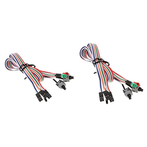 F Fityle 2 Stücke PC Computer Stromkabel ATX Netzleitung Power-Schalter Reset-Taste mit 2X LED-Lichter -