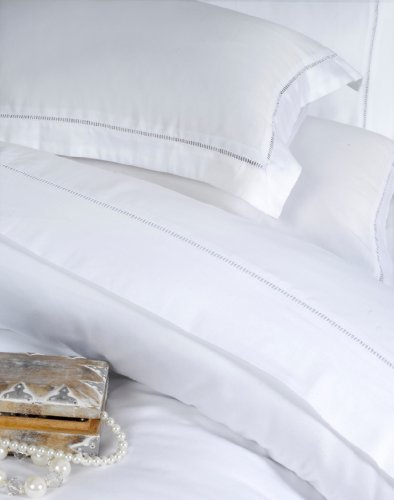 Dorchester 100 Percent Cotton Percale Bedding Bed Linen 1000 Thread Count Flat Sheet, White, Super-King