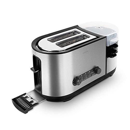 L&U Toaster, 5-in-1-Toaster mit Eierkocher und Eierkocher, 2-Scheiben-Toaster mit Mini-Bratpfanne, Dampfgarer, breiter Schlitz, 7 Modi der Bräunungssteuerung, 1200 W, Edelstahl Silber