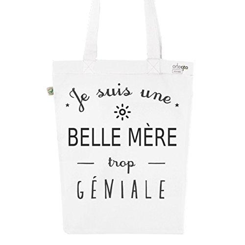 Tote Bag Blanc Imprimé - Toile en Coton Bio - Une Belle Mère trop géniale