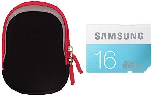 Inov8 Kompakte Kamera Kit mit Neoprenhülle/Samsung 16 GB Standard SDHC Class 6 Memory Card, Pink (16gb Memory Card Case)