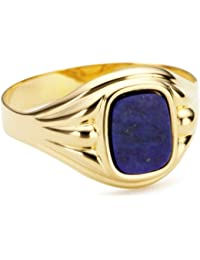 Bella Donna Herren- Ring 333 Gelbgold 1 Lapis Antik 9x7 mm
