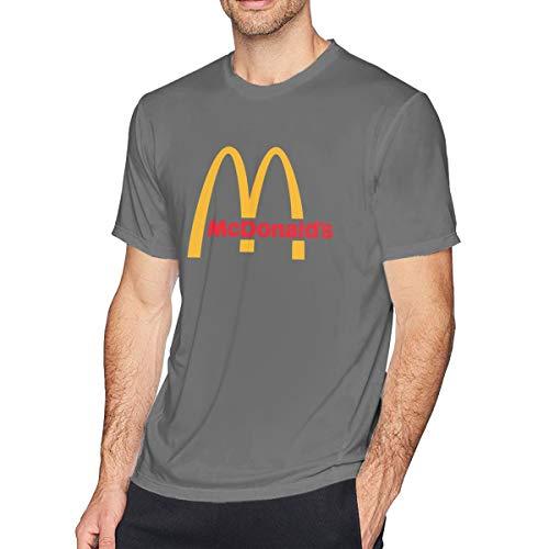 Herren Sommer T-Shirt McDonalds Logo T-Shirt Freizeithemden Für Herren Große Jungen Kurzarm Rundhals Baumwolloberteile Deep Heather M -