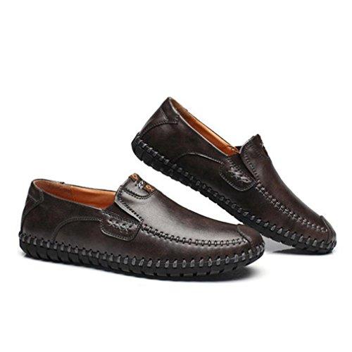 Hommes Chaussures Mocassins en Cuir Souple Cire à Bordure Bout Pointu Plat Léger Semelle Antidérapant Loisir Derby Gris