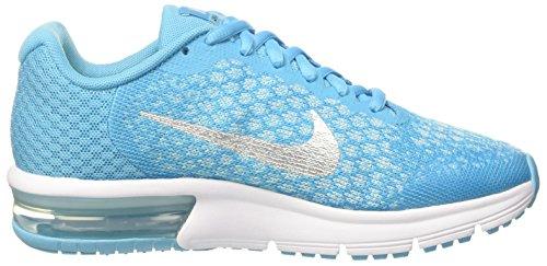 Nike Air Max Sequent 2 Gs, Chaussures de Gymnastique Mixte Enfant Turquoise (Chlorine Blue/mtlc Silver/polarized Blue/glacier Blue/white/volt)