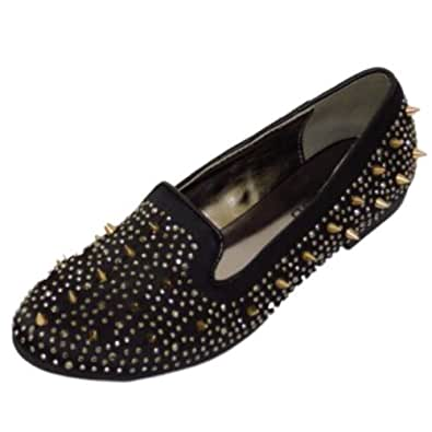 Ladies Gold or Black Slip-On Satin Flat Stud Pumps Womens Loafer Shoes