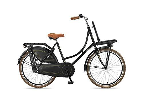 """Altec 24"""" 24 Zoll Kinderfahrrad Kinder Mädchen City Holland Hollandfahrrad Fahrrad Mädchenfahrrad Hollandrad Rad Bike Unisex Omafiets Retro Vintage Rücktrittbremse Beleuchtung London Schwarz"""