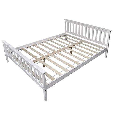vidaXL Kieferholz Bett Doppelbett Massivholz Ehebett Bettgestell Lattenrost 200x160cm