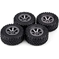 Tbest Neumáticos de orugas de 4 Piezas, 1:16 Neumáticos de Goma Modelo RC Control Remoto Ruedas de Coche Accesorios de báscula de vehículo RC