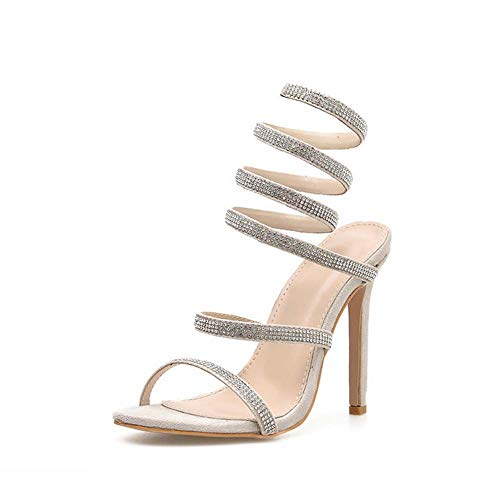 GHFJDO Damen Diamante High Heel Sandals, Ladies Slingback Stiletto Heel, Ankle Strap Party Bridal Shoes,Silver,35EU Cone Heel Sandal