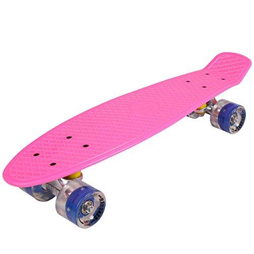 57cm Mini Cruiser board Retro Skateboard mit LED Leuchtrollen und Aluminium Trucks ABEC-7 Classics (Rosa)