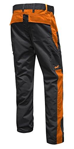 Arbeitshose Männer Berlin Pro Bundhose 280 GR. Reißverschluss YKK + Metallknopf YKK - Made in EU - Kermen - Schwarz-Orange 54 - 2
