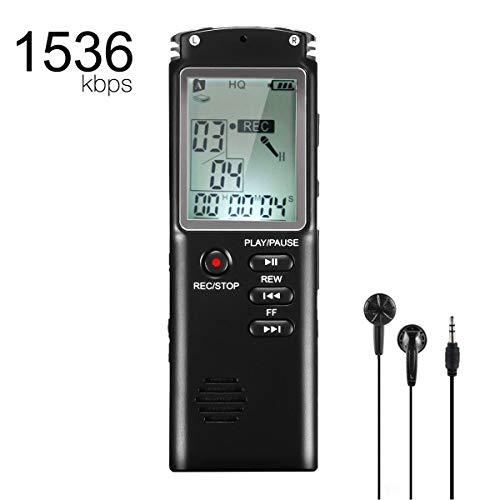 Flybiz Registratore Vocale Digitale Portabile, 8GB 1536 Kbps USB multifunzionale Digital Audio Voice Recorder, Professionale Portatile Registratore di Suoni Ricaricabile riduzione del Rumore