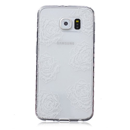 Galaxy S7 Hülle, Galaxy S7 Silikon Hülle Tasche Handyhülle [Kratzfeste, Scratch-Resistant], SainCat TPU Schutzhülle Ultradünn Weich Flexibel Silikonhülle Bumper Case Transparentes Silikon Schutzhülle  Sechs Rosen