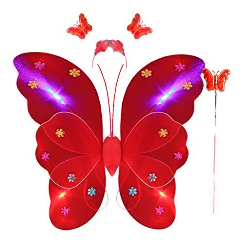 Andouy Kinder Faschingskostüme LED Blinking Schmetterling Flügel Stirnband Magic Zauberstab Rock Set für Party Karneval(50X40CM.Rot-1)