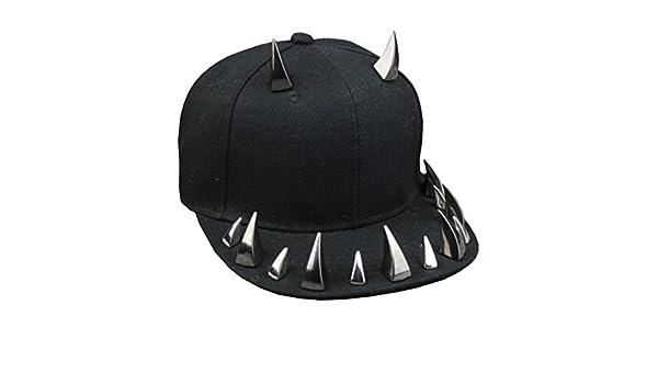 Chinashow Mode Coole Nieten Gothic Einstellbare Punk Rock Hip-Hop Hut Baseballm/ütze Stud Cap, Schwarzes Horn