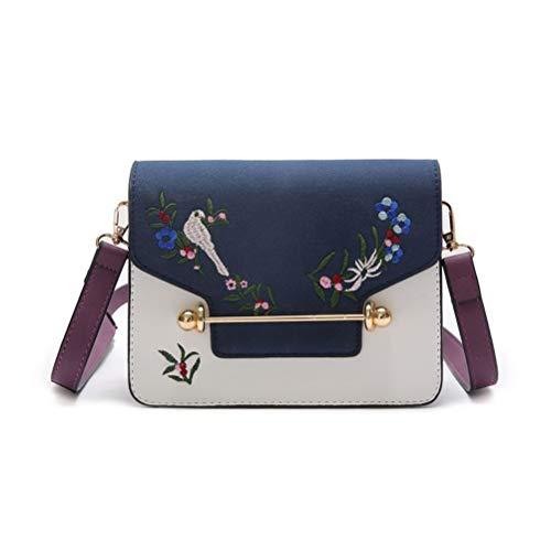 Gestickte Messenger Tasche (ALEILA Gestickte kleine Schule Satchel Bookbag Vogel Blume Cross-Body Taschen Handtasche PU Schulter Messenger Bag,Blue)