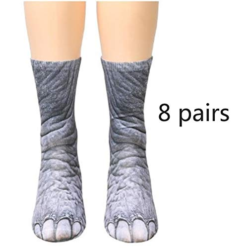 BYGenMai Animales Crew Calcetines Adultos Animal Paw Socks 8 Pares 3D Print...