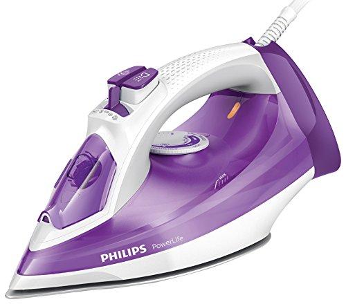 Philips PowerLife GC2991/30 - Plancha a vapor 2300 W, golpe vapor 145g, suela SteamGlide antiarañazos y función limpieza fácil de la cal, color morado