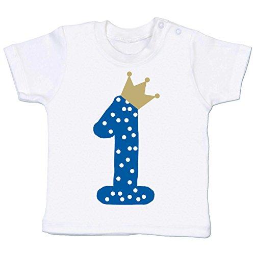Shirtracer Geburtstag Baby - 1. Geburtstag Krone Junge Erster - 18-24 Monate - Weiß - BZ02 - Babyshirt Kurzarm
