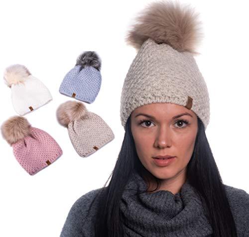 HEYO gestrickte Wintermütze für Damen | Bommelmütze Gefüttert | H14512 | Slouch Beanie Fleece Stirnband Warme Strickmütze mit Kunstfell Bommel (Beige)