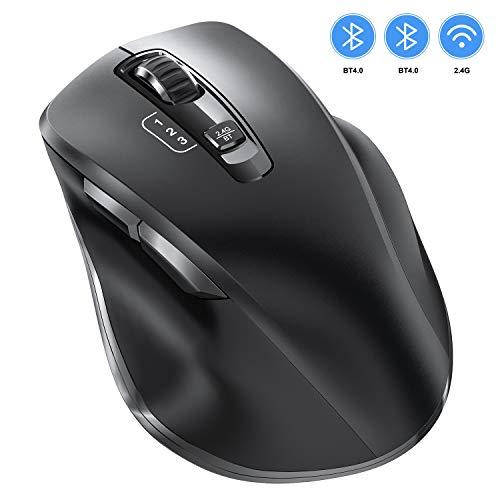 VOGEK Bluetooth Maus, 2.4Ghz+Bluetooth Kabellose Mouse USB Verbindung Wireless Optische Bluetooth Maus 3 Einstellbare DPI leise Funkmaus für DREI Geräten