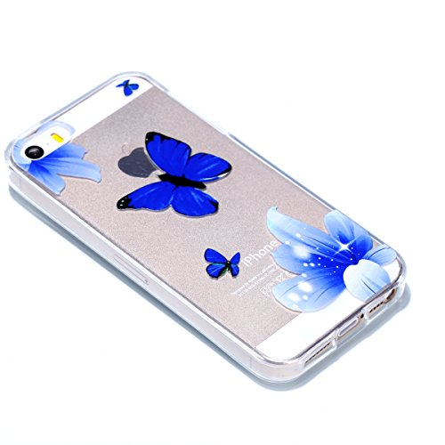 Cover iPhone 5 Custodia iPhone 5s Silicone iPhone SE Cover Anfire Morbido Flessibile Gel TPU Case per Apple iPhone 5/5s/SE (4.0 Pollici) Ultra Sottile Slim Clear Trasparente Copertura Ultra Leggera An Farfalla Blu