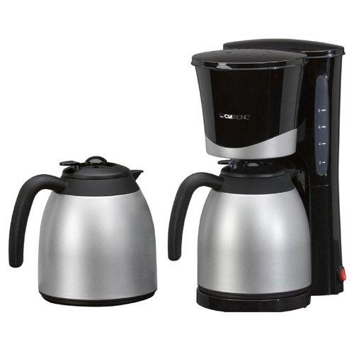 Clatronic KA-3328 Kaffeemaschine Filterkaffeemaschinen Set inkl. 2 Thermoskannen à 1L ideal für Büros und WGs (870W, herausnehmbarer Filtereinsatz, geschmacksneutrale Beschichtung)