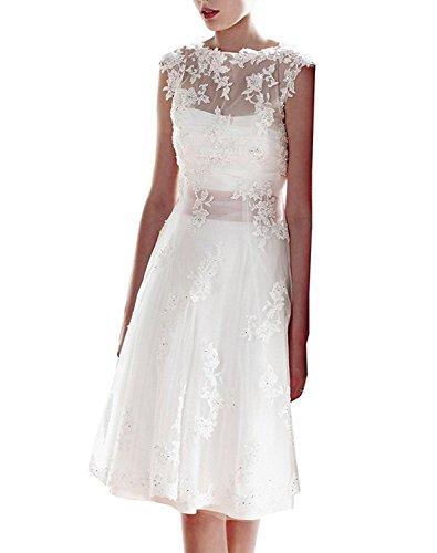 CLLA dress Damen Hochzeitskleid Knielang Vintage Spitze Brautkleider Brautmode Abendkleider(Weiß,46) (Kleid Cinderella Handgefertigtes)