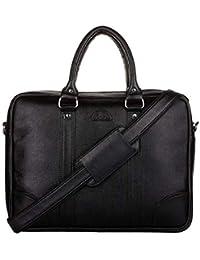 K London Black Leatherite Handmade Men Women Bag Cross Over Shoulder Messenger Bag Office Bag (1803_blk)