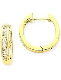 ICE CARATS 14k Yellow Gold Diamond Hoop Earrings Ear Hoops Set Fine Jewelry Gift Set For Women Heart