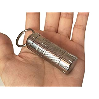 Titanium Pill Box Case Bottle Pill Holder Keychain Container Waterproof Mini EDC Emergency Survival Tools , Non-allergenic, Comes with High Class Gift Box (silver)