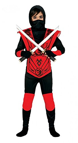 shoperama 6-teiliges Ninja Kostüm für Jungen Rot/Schwarz Kinder Samurai Kämpfer Teenager, Kindergröße:134 - 7 bis 9 Jahre (Ninja Schwarze Kostüm Kämpfer, Kind)