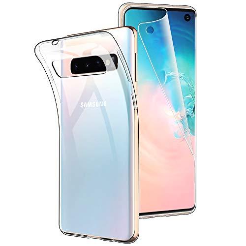 Simpeak Ersatz für Samsung Galaxy S10 Hülle + Schutzfolie Transparent, Silikon Clear TPU handyhülle Premium Display Screen Protector für Samsung S10 Premium Screen Protector